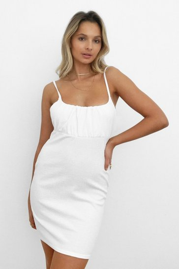 White Busting to See You Tie Back Mini Dress