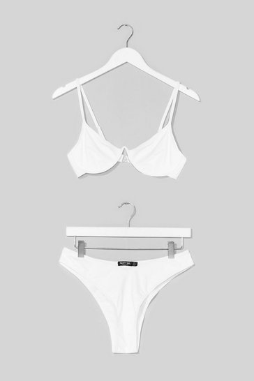 White Easy Love High-Leg Bikini Set
