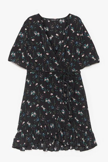Black This is Flower Time Plus Floral Mini Dress