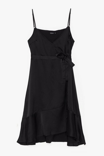 Black Come Alive in Night Tie Plus Wrap Dress