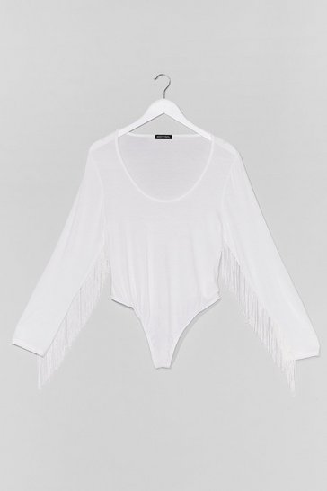 White Living On the Edge Plus Fringe Bodysuit