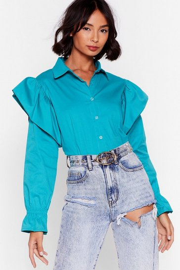 Green Frill In Control Cropped Button-Down Shirt