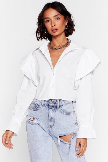 White Frill In Control Cropped Button-Down Shirt