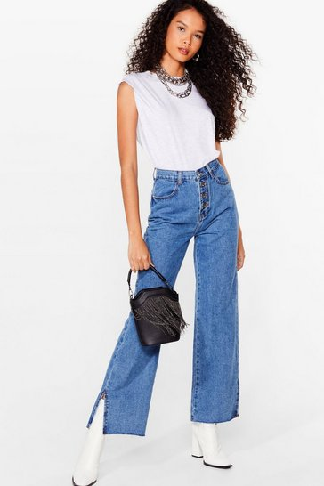 Blue Button Me Up Relaxed Slit Jeans