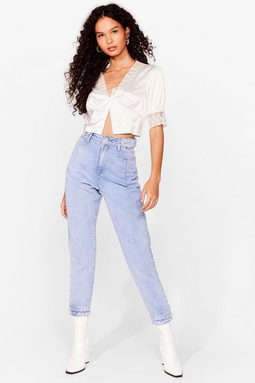 Blue Washed Button High Waisted Mom Jeans