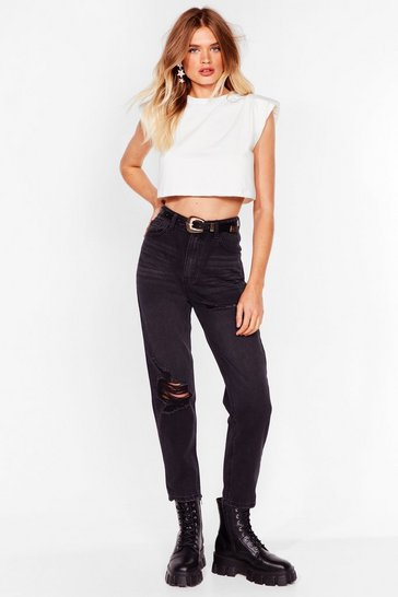 Black Don't Distress High-Waisted Mom Jeans