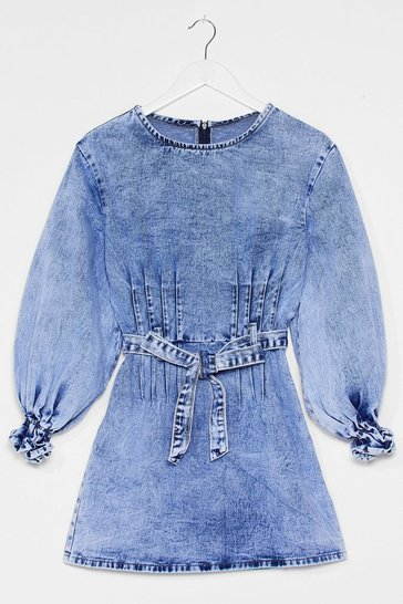 Blue Denim Puff Sleeve Belted Mini Dress