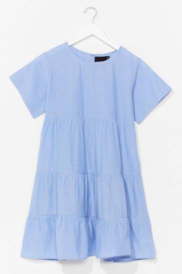 Light blue Chambray Denim Tiered Smock Dress