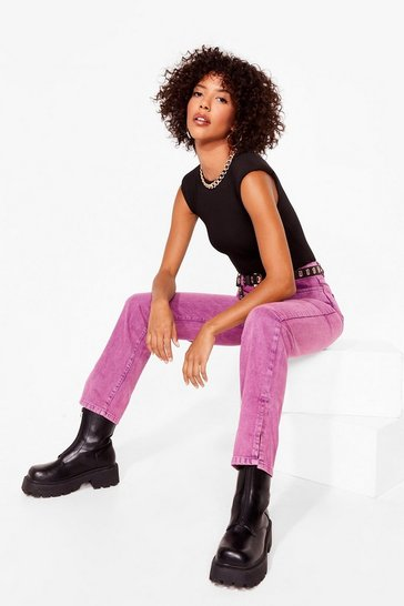 Raspberry Let's Split Straight-Leg Jeans