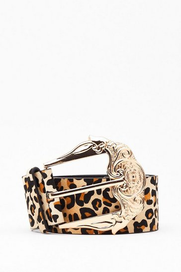 Natural That's Meow We Do It Leopard Ornate Belt