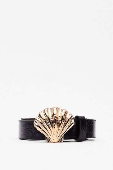 Black Highway to Shell Faux Leather Belt
