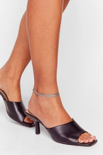 Silver No Chain No Gain Layered Anklet