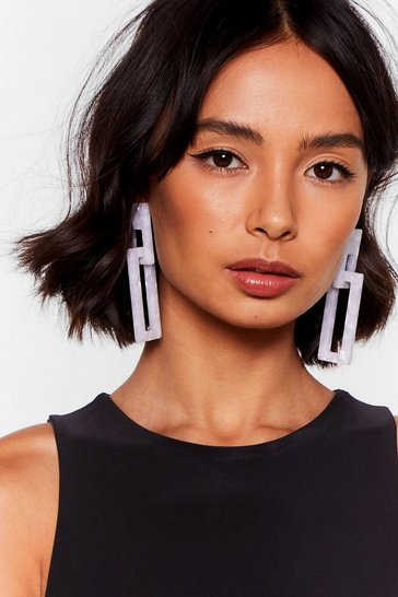 White Final Statement Square Drop Earrings