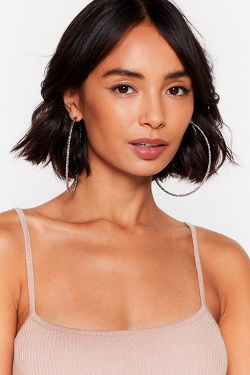 Silver We Couldn't Ear You Textured Hoop Earrings