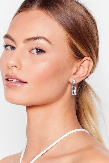 Silver Mirror Image Diamante Drop Earrings