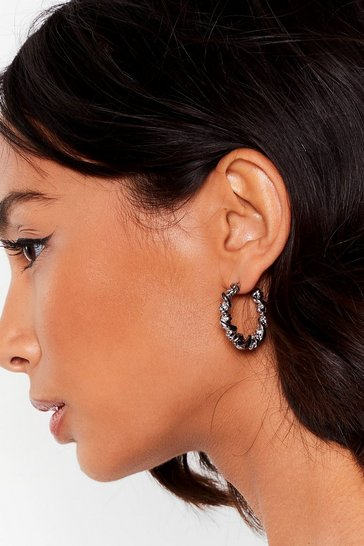Silver In the Loop Twist Hoop Earrings