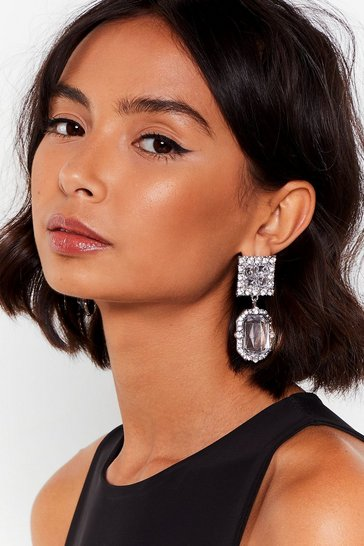 Silver As Shine Goes By Diamante Drop Earrings
