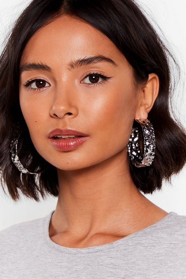Silver Check Your Text-ures Oversized Hoop Earrings
