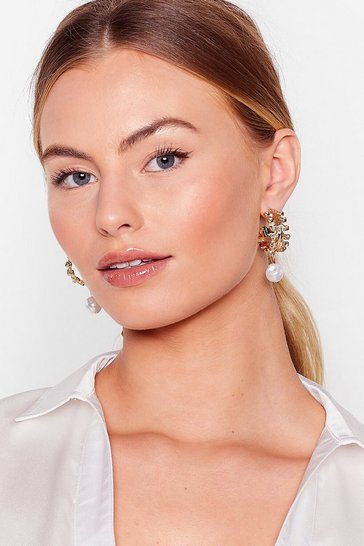 Gold Pearl Drop Leaf Hoop Earrings