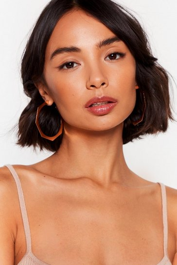 Gold Shape It Off Hexagon Hoop Earrings