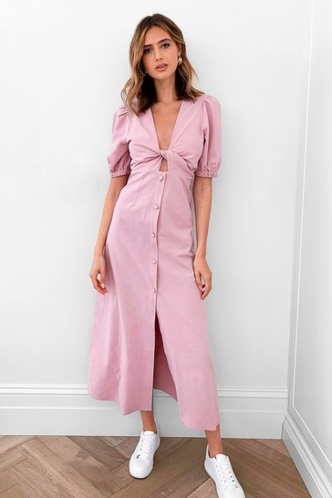 Soft pink Front Woman Tie Maxi Dress