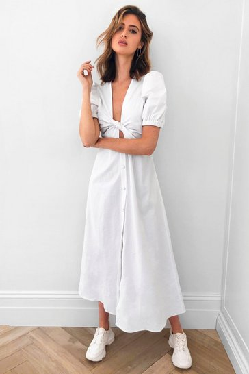 White Front Woman Tie Maxi Dress