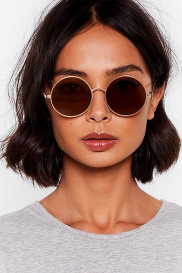 Brown Groovy Thing Round Tinted Sunglasses
