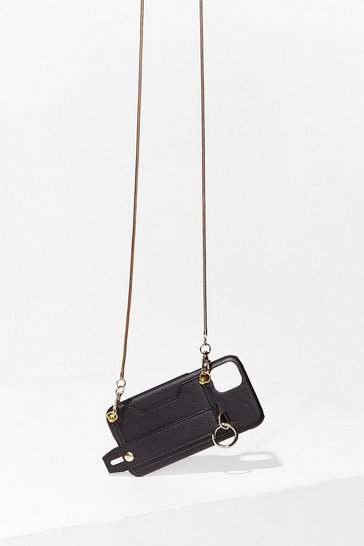 Black PU Back Strap Phone Bag