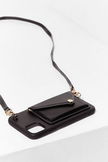 Black PU Strap Back Pocket Phone Bag