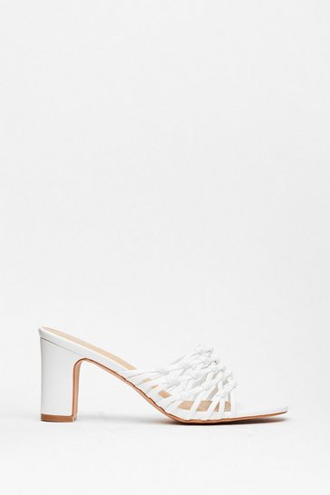White Mule Never Know Block Heel Sandals