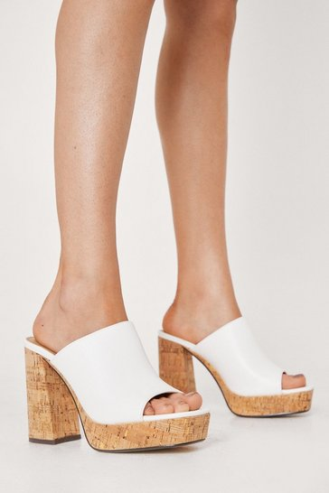 White Not What You Cork Heeled Mules