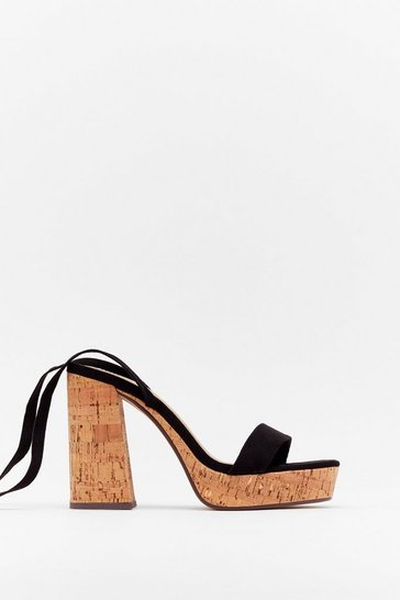 Black Cork the Cork Faux Suede Platform Sandals