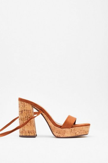 Tan Cork the Cork Faux Suede Platform Sandals
