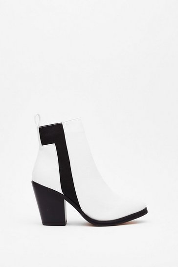 White Monochrome at Last Contrasting Heeled Boots