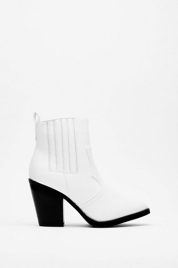 White The West One Yet Faux Leather Heeled Boots