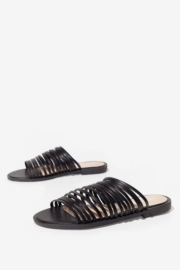 Black Strappy Faux Leather Flat Sandals