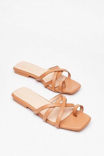 Camel You Toe What We Mean Faux Leather Flat Sandals