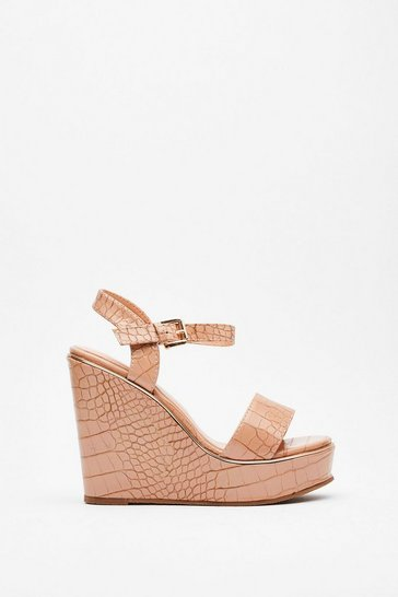 Nude On Crocy Road Faux Leather Wedges