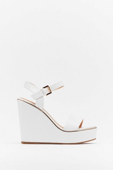 White On Crocy Road Faux Leather Wedges