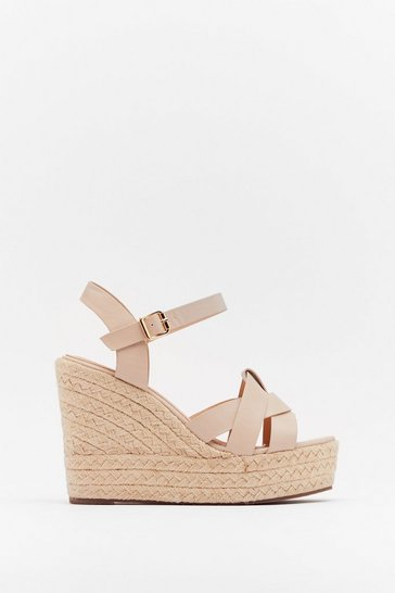 Nude Faux Leather Espadrille Wedges