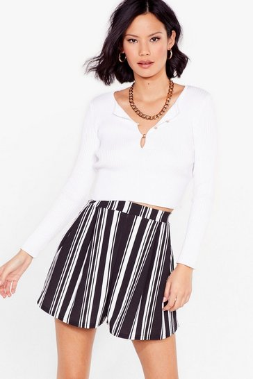 Black The Times Stripe High-Waisted Shorts