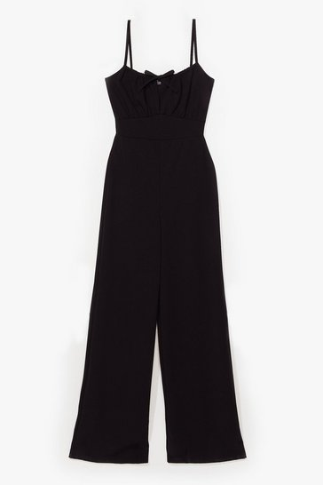 Black Now That Tie Found You Wide-Leg Jumpsuit