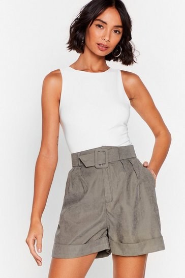 Green We're Workin' On It Relaxed Belted Shorts