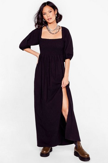 Black Puff Sleeve Shirred Maxi Dress
