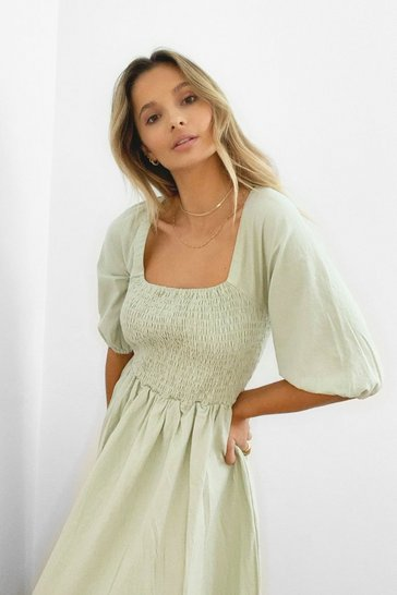 Sage Shirred Bust Puff Sleeve Maxi Dress