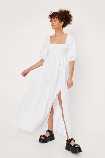 White Puff Sleeve Shirred Maxi Dress