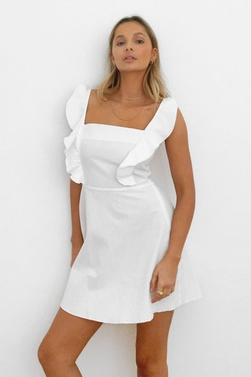 Robe courte volantée à col carré Tu m'as volé un bisou, White