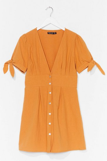 Turmeric Button Down Tie Sleeve Mini Dress