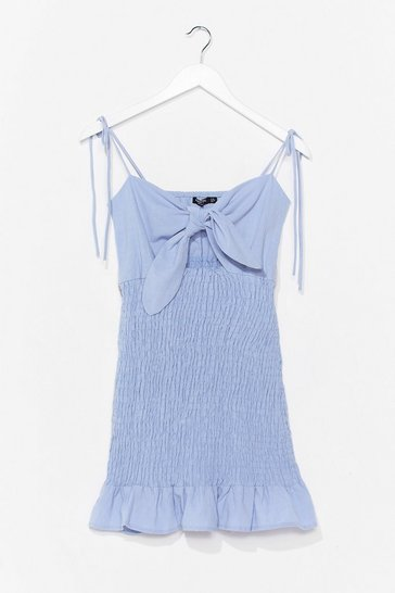 Blue Take Our Shirred for It Bow Mini Dress