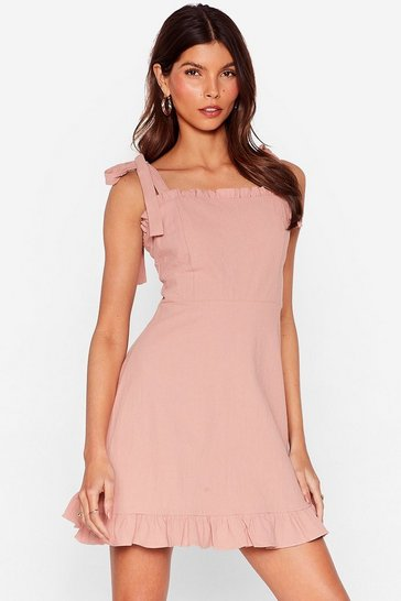 Rose Can't Tie My Love Ruffle Mini Dress